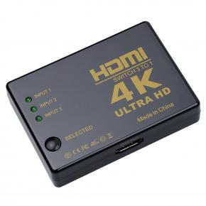 SWITCH HDMI 3 IN - 1 OUT 4K FULL HD CON CONTROL Y CABLE E
