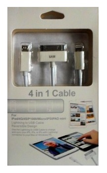 XXI CABLE 3 EN 1 USB A V8 - IPHONE 4 - 5 SUELTO EN BOLSA
