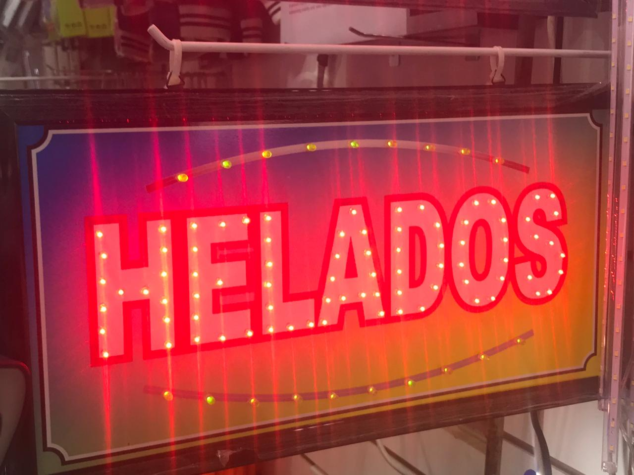 CARTEL HELADOS LED PLOTEADO 220 VOLTS 48 x 25 CM